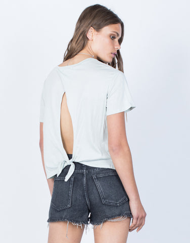 Back View of Amanda Open Back Tee
