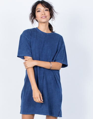 Dark Blue Andy Tee Dress - Front View
