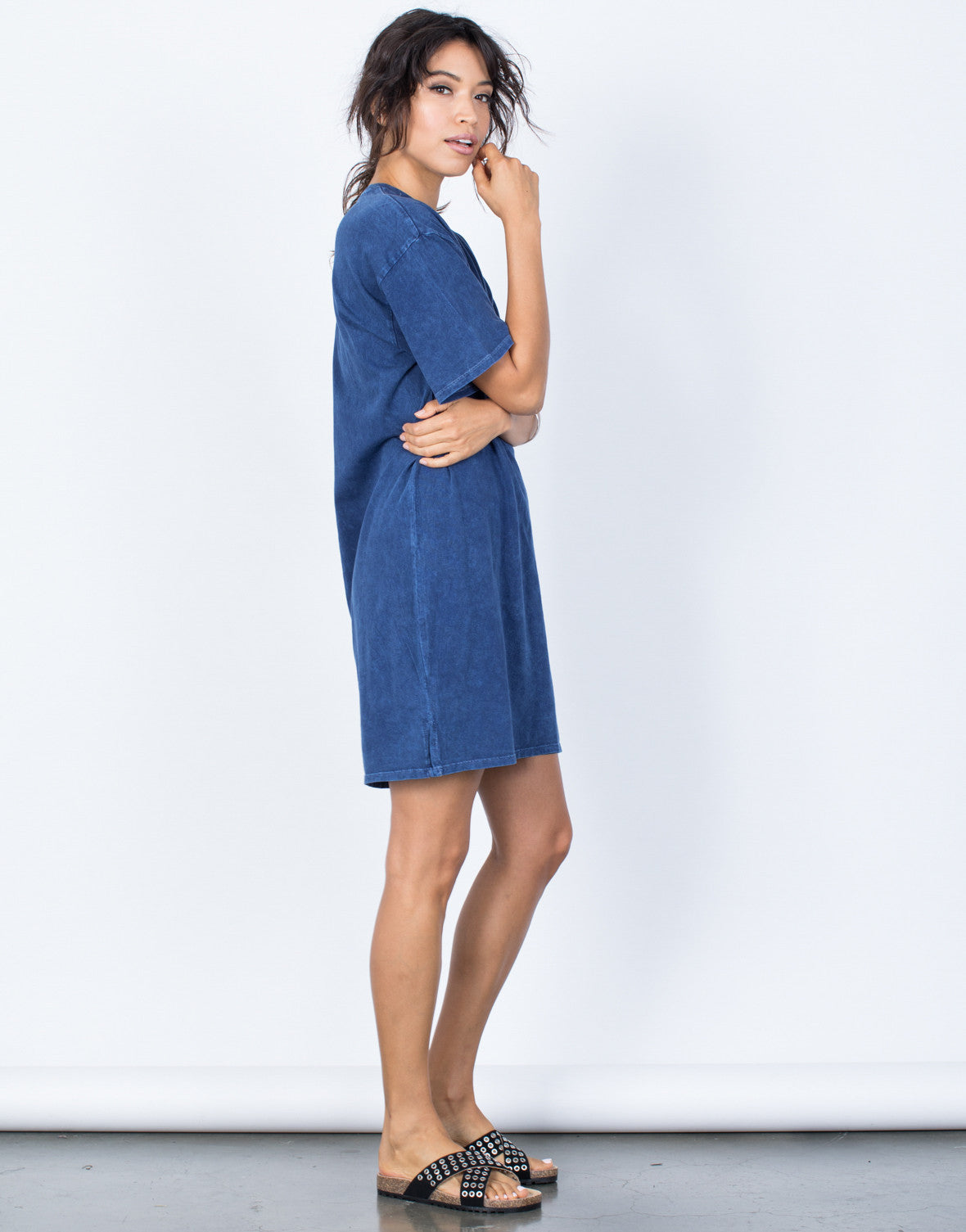 Dark Blue Andy Tee Dress - Side View