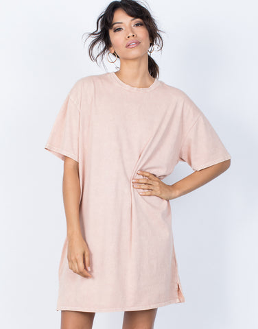 Dusty Peach Andy Tee Dress - Front View