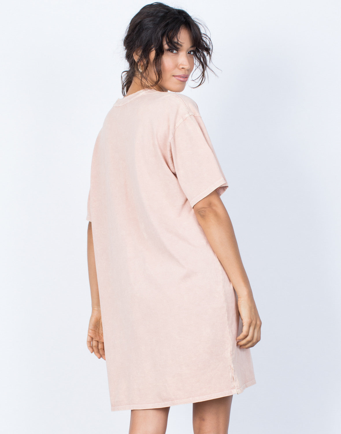Dusty Peach Andy Tee Dress - Back View