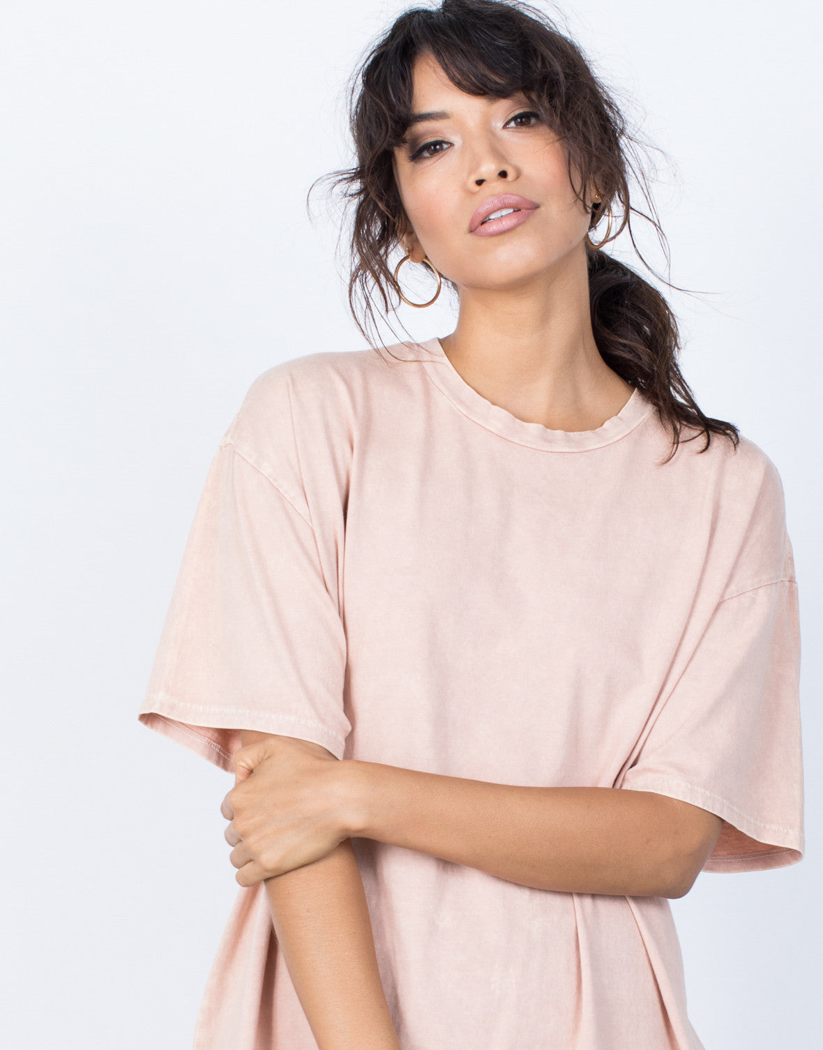 Dusty Peach Andy Tee Dress - Front Detail