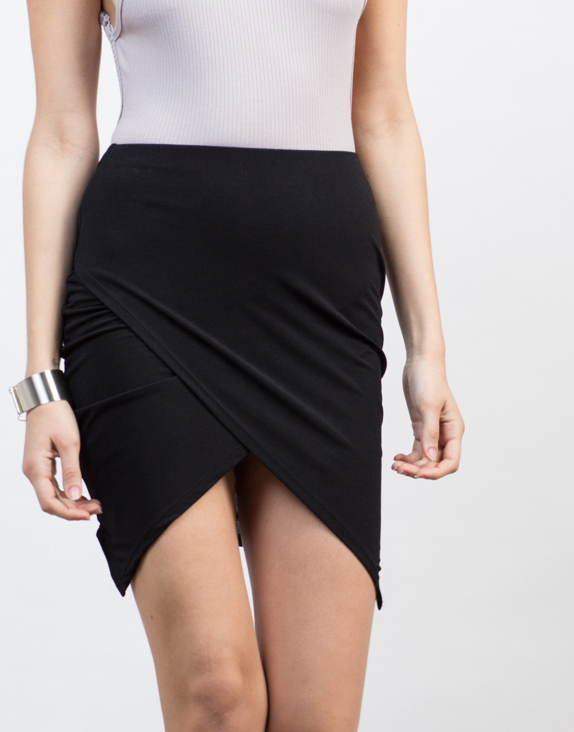 Detail of Angular Cut Mini Skirt