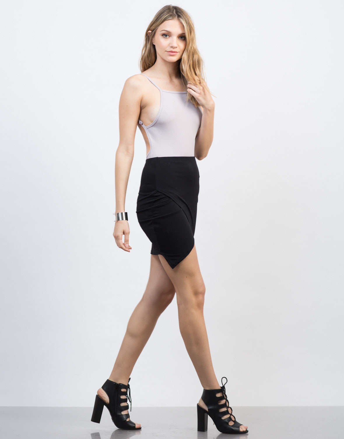 Side View of Angular Cut Mini Skirt