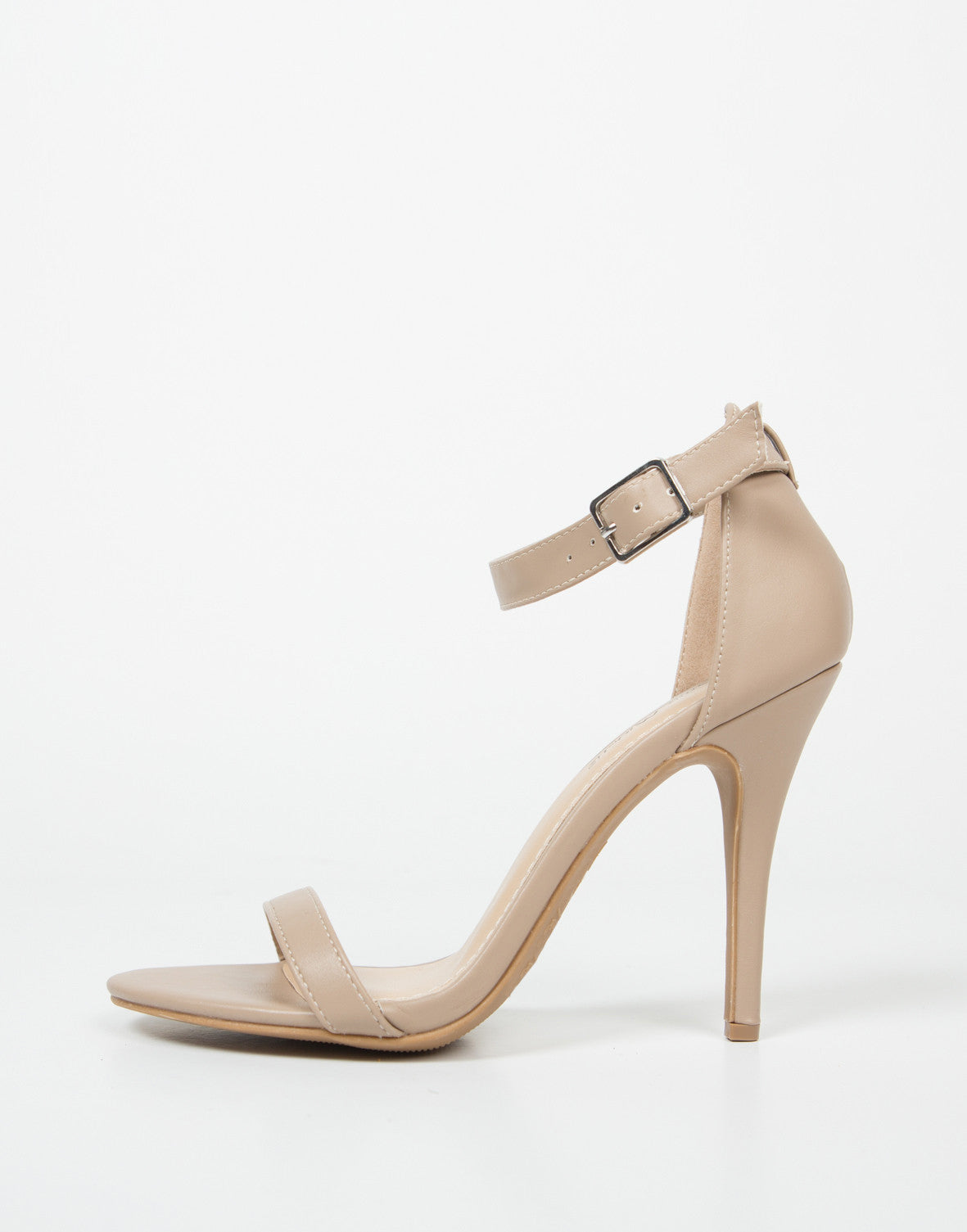 Side View of Ankle Strapped Stiletto Heels