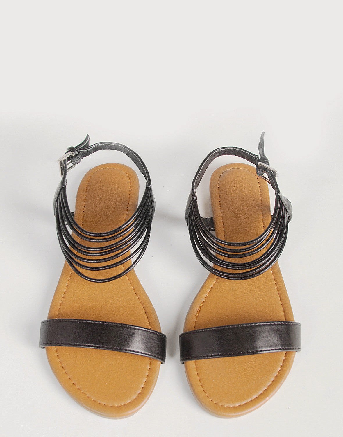 Ankle Strappy Sling Back Sandals - Black