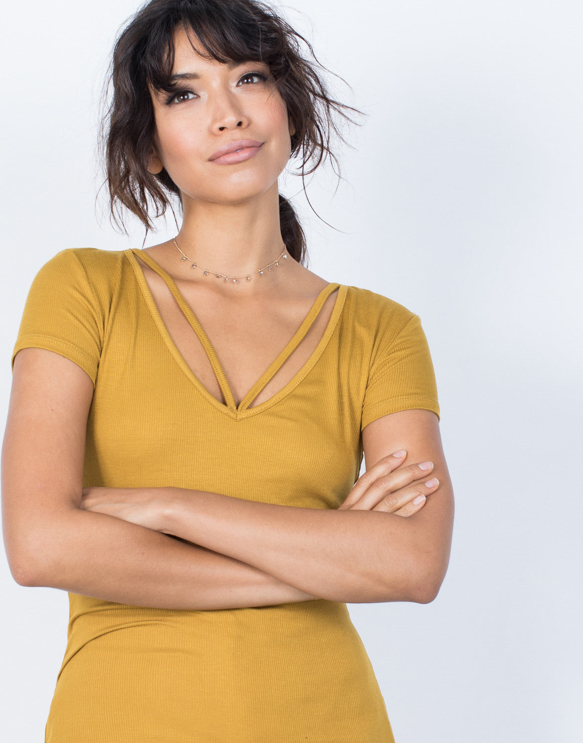 Mustard White Anna Strappy Tee - Front View