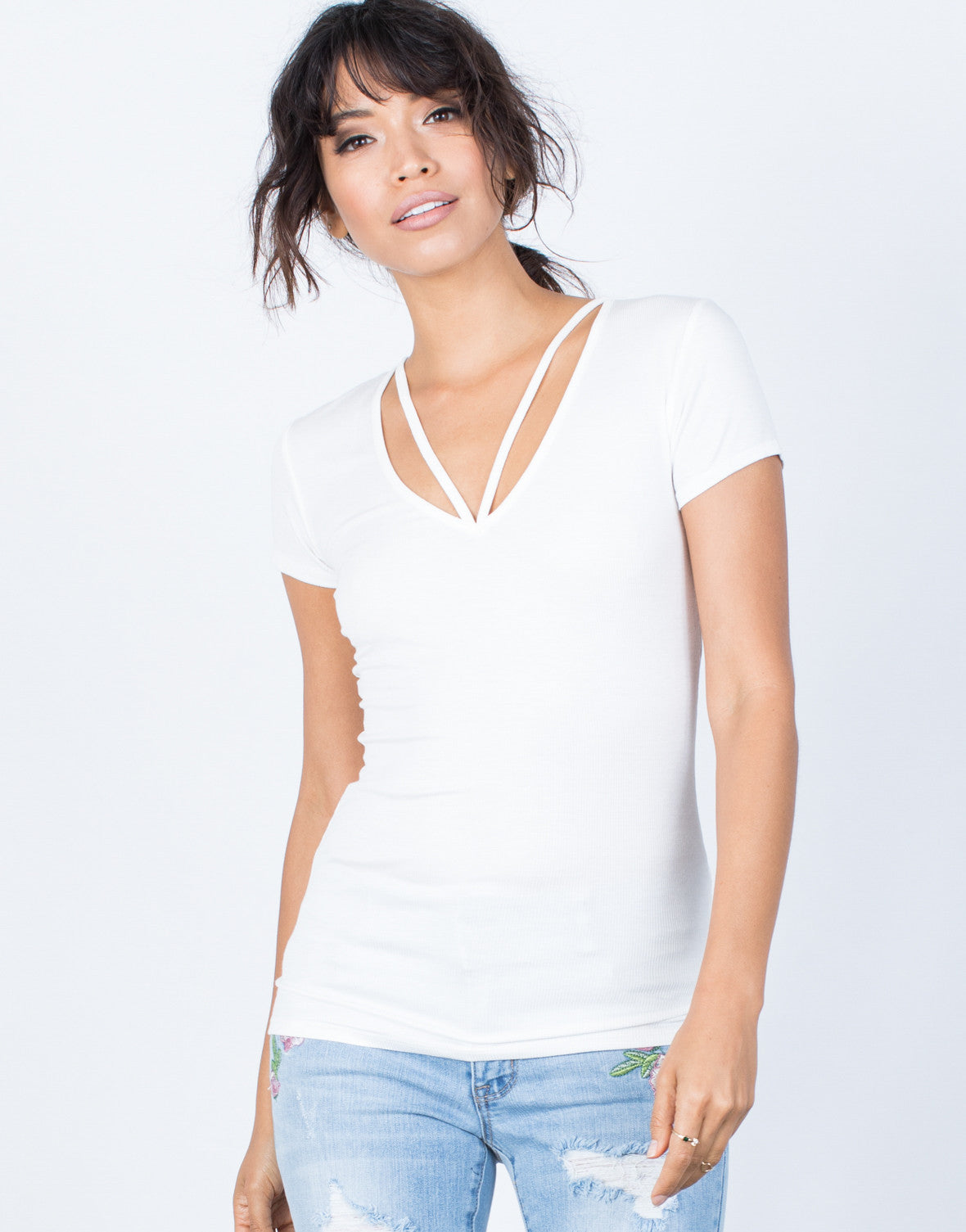 White Anna Strappy Tee - Front View