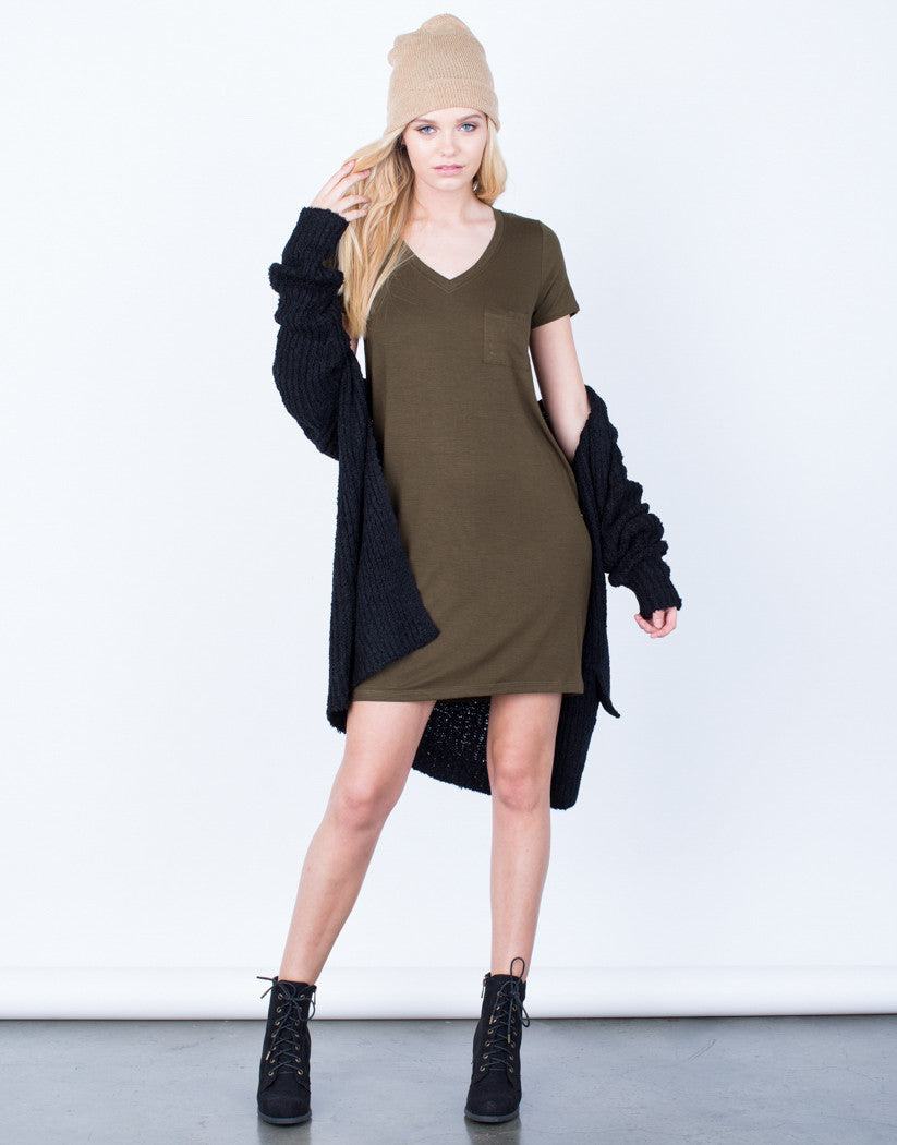 Front View of Anything But Basic Tee Dress