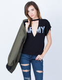 Front View of Army Cut Out Tee