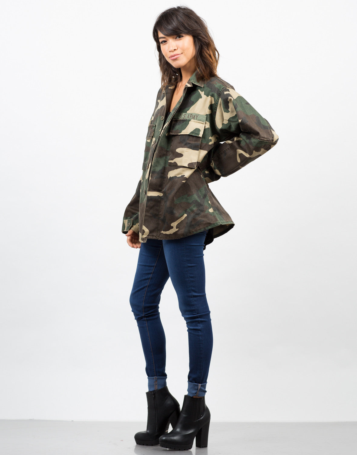 Side View of Army Printed Graphic Jacket