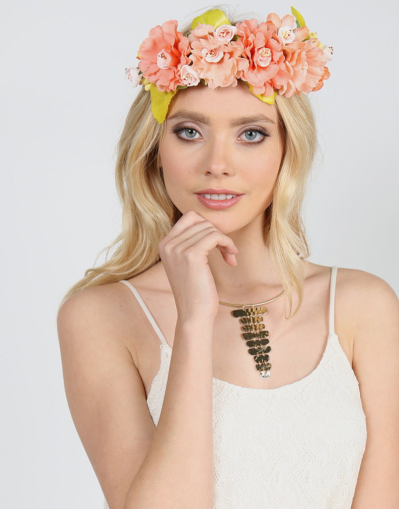 Assorted Jumbo Flower Crown - Peach Accessories Peach One Size -2020AVE