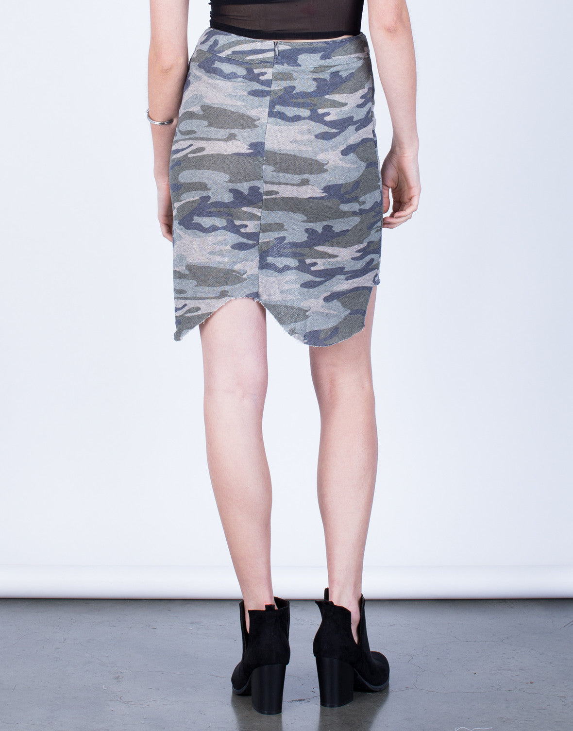 Asymmetrical Camo Skirt