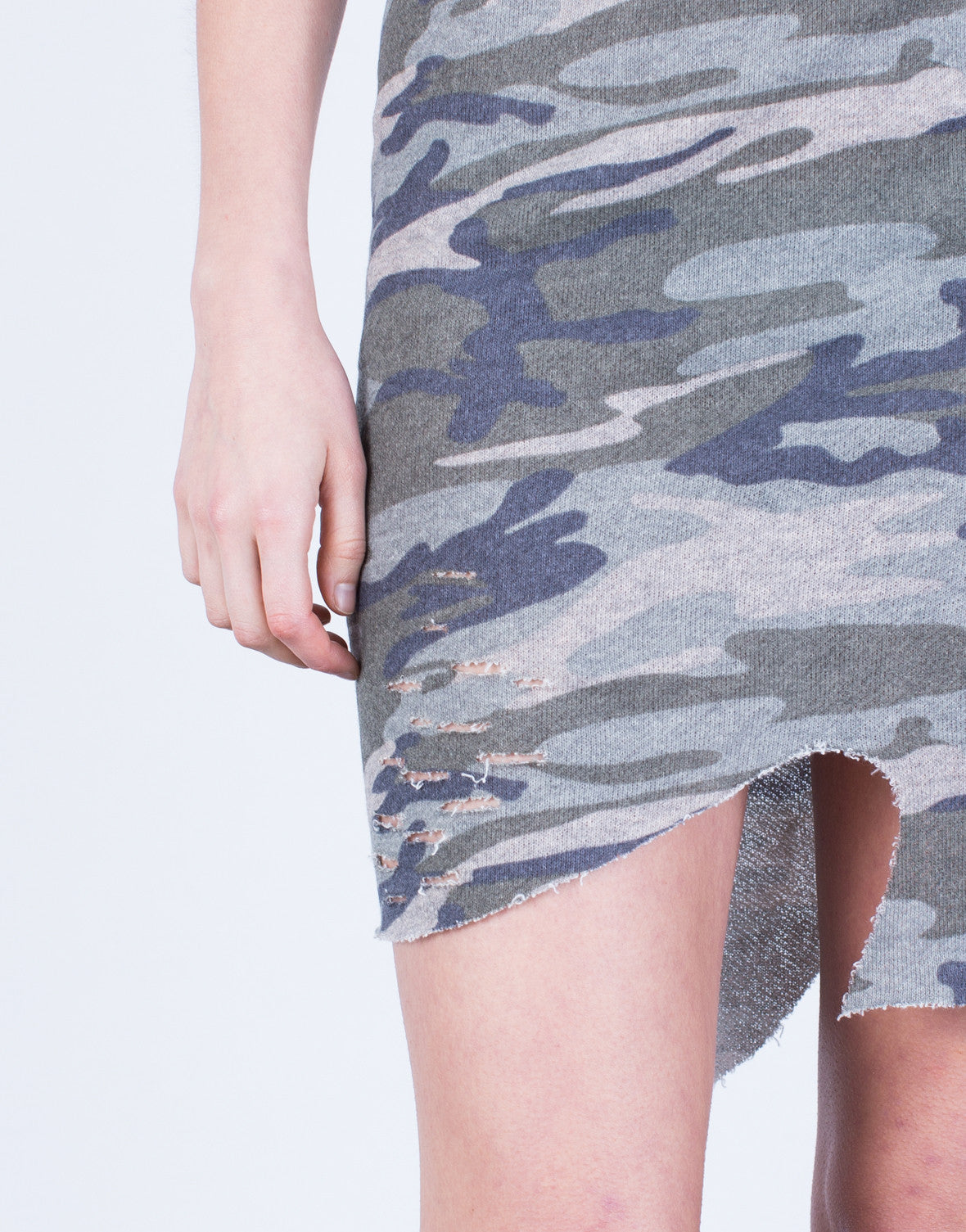 Detail of Asymmetrical Camo Skirt