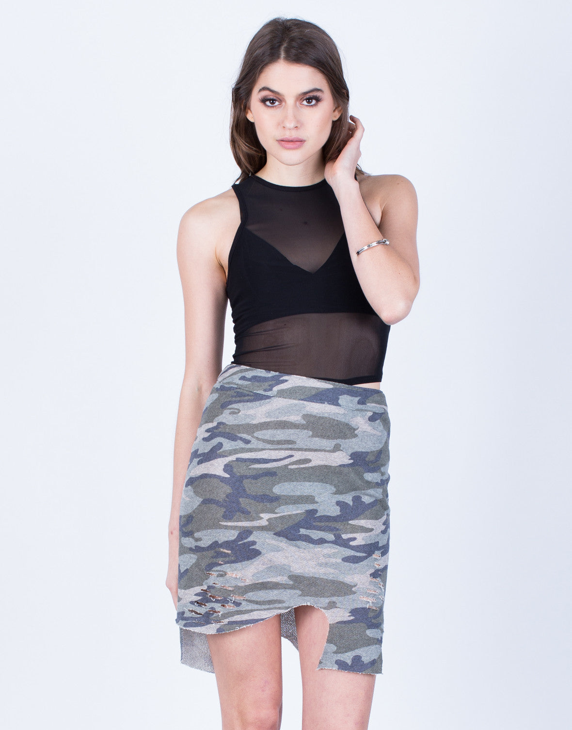 Front View of Asymmetrical Camo Skirt