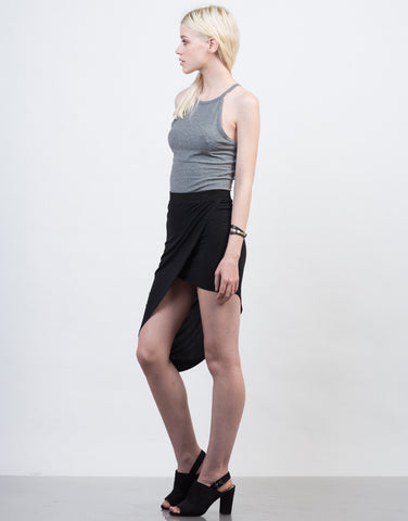 Side View of Asymmetrical Midi Skirt