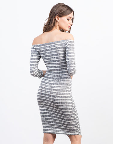 Back View of Asymmetrical Off the Shoulder Dress