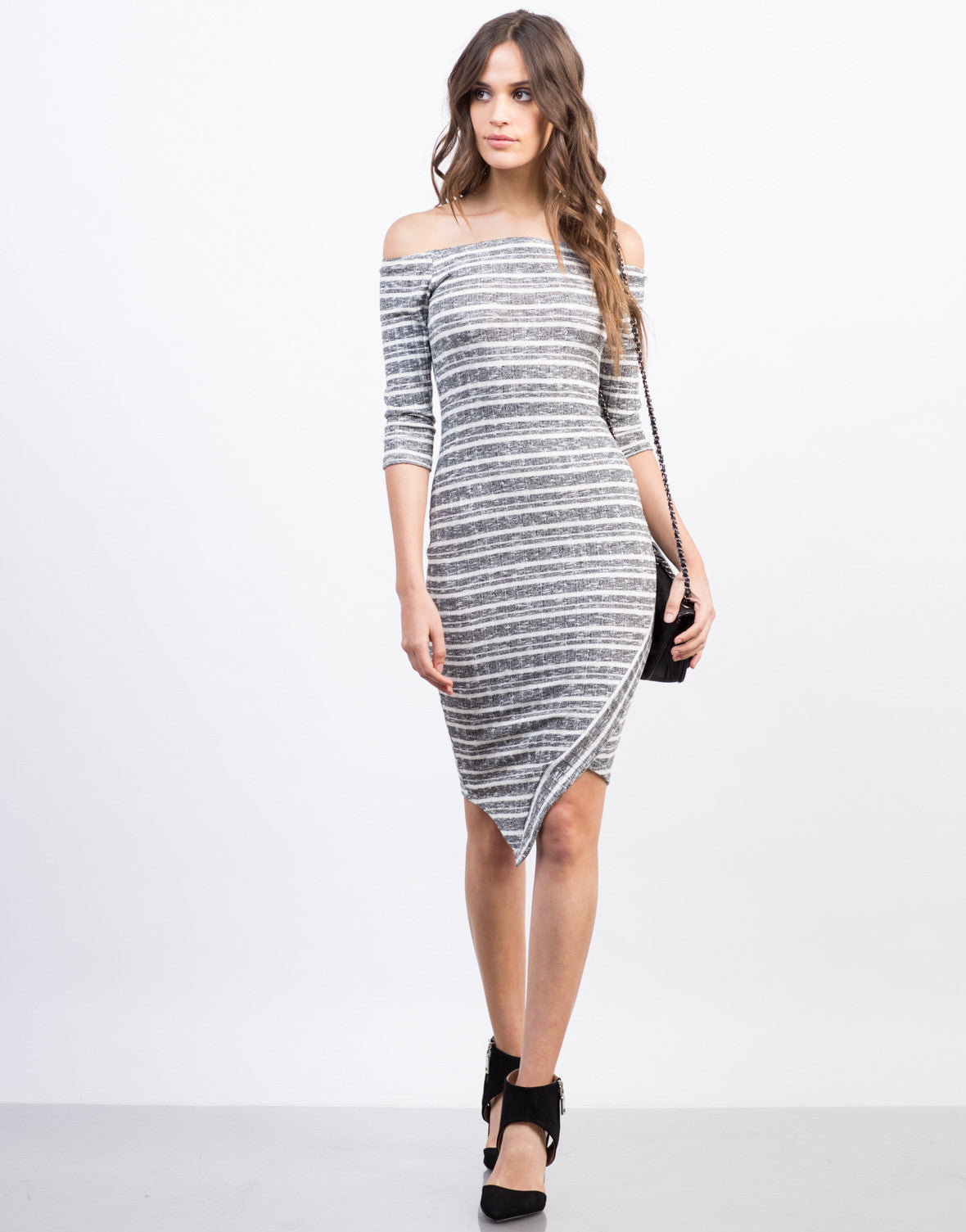 Front View of Asymmetrical Off the Shoulder Dress