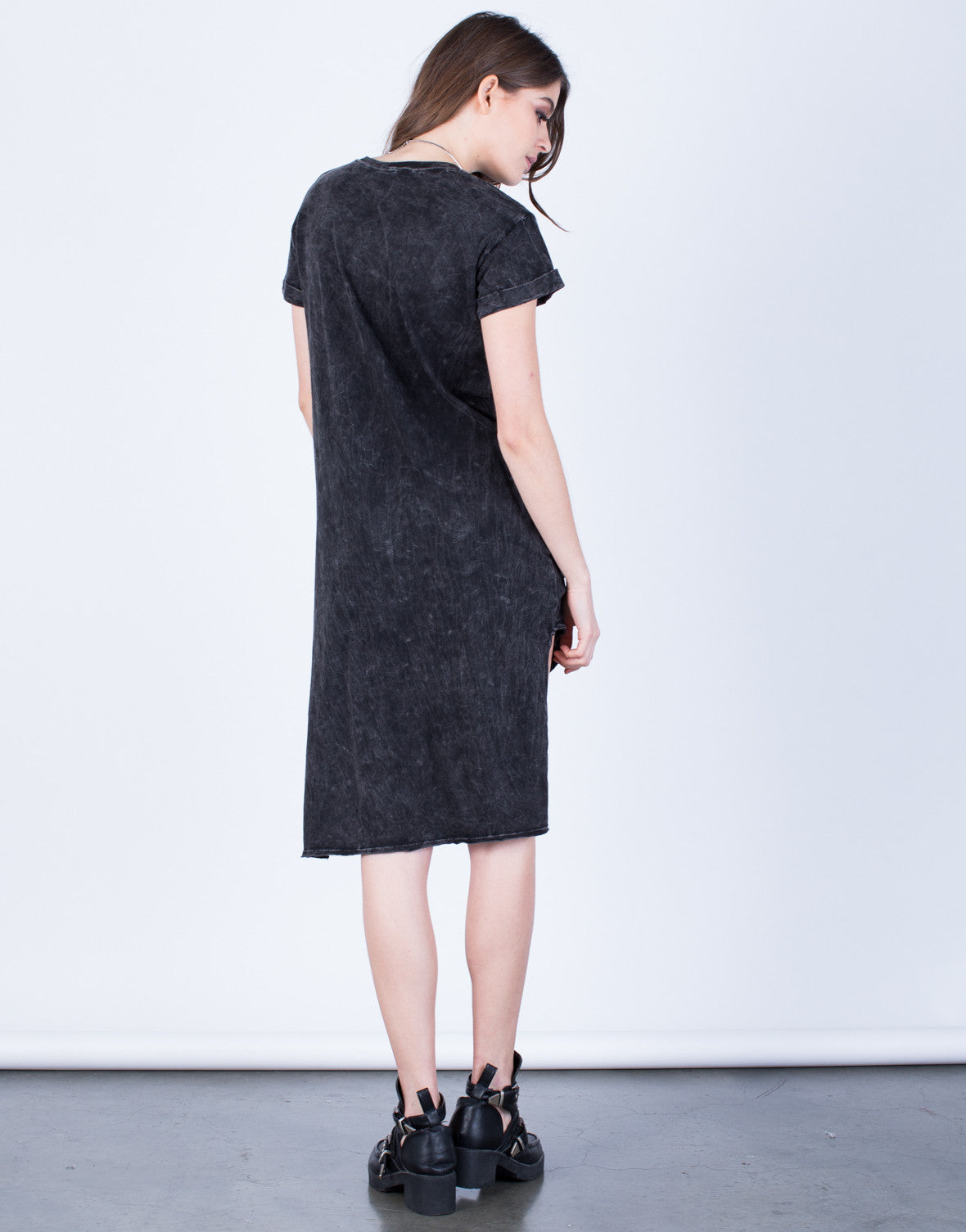 Back View of Asymmetrical Tee Dress