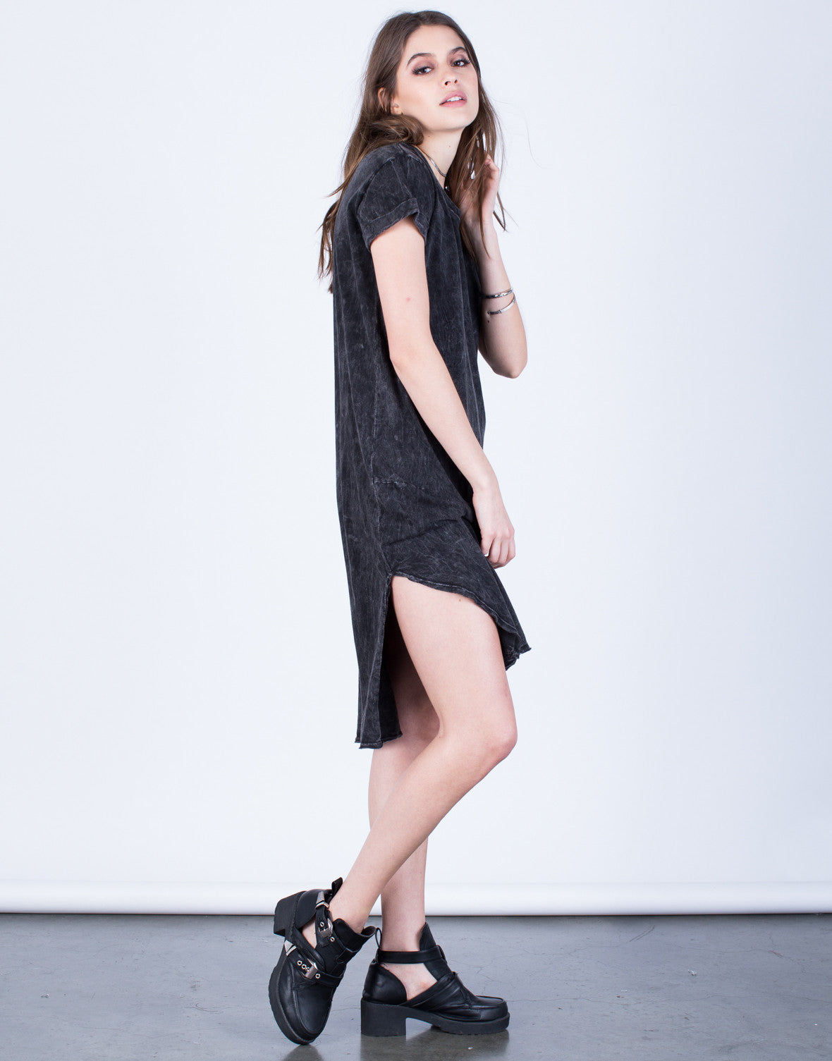 Side View of Asymmetrical Tee Dress