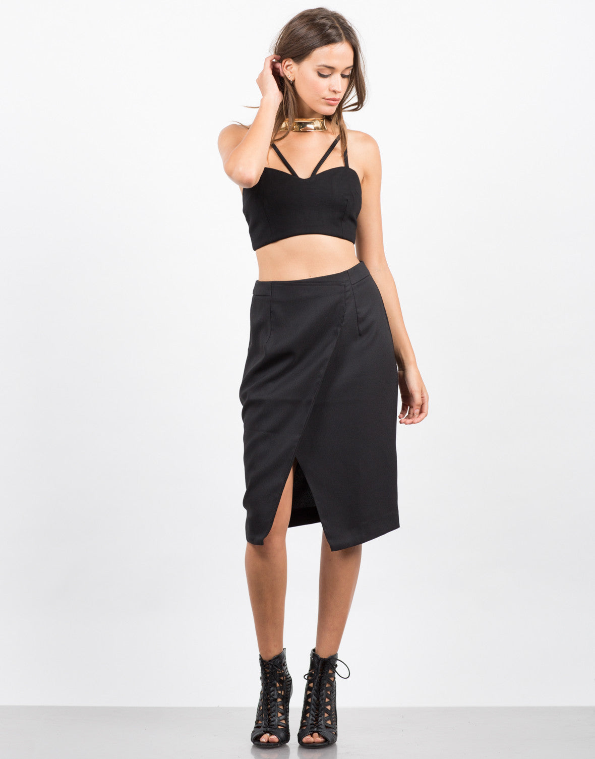 Front View of Asymmetrical Pencil Skirt
