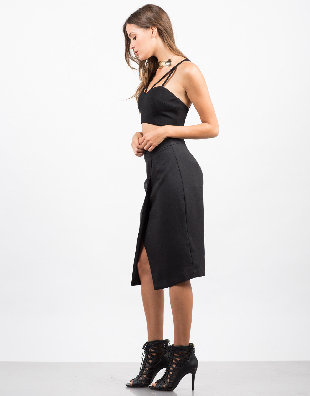 Side View of Asymmetrical Pencil Skirt
