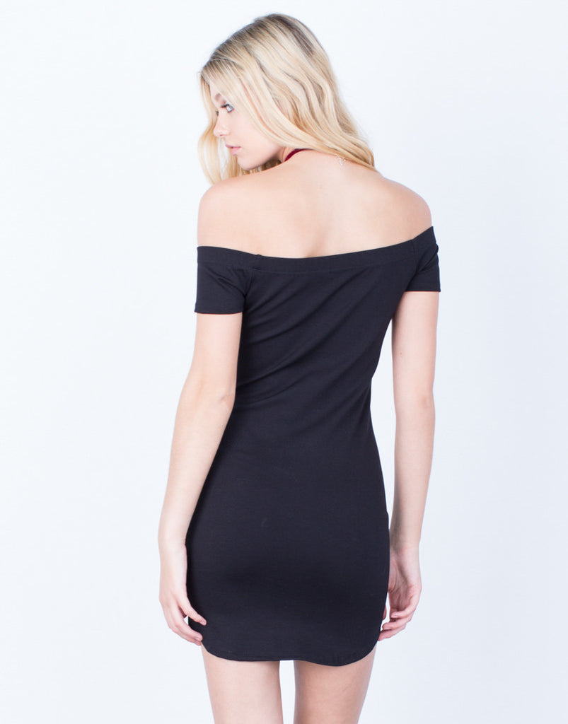 Back View of Audrey Off-the-Shoulder Dress