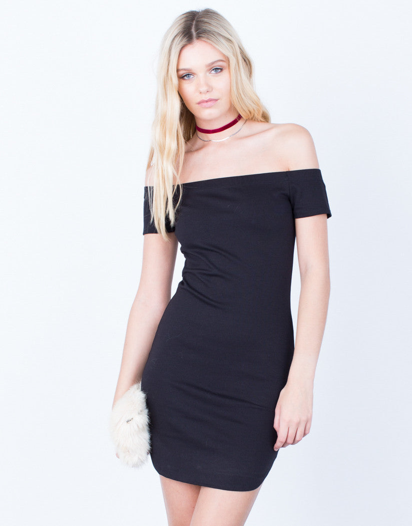 Front View of Audrey Off-the-Shoulder Dress