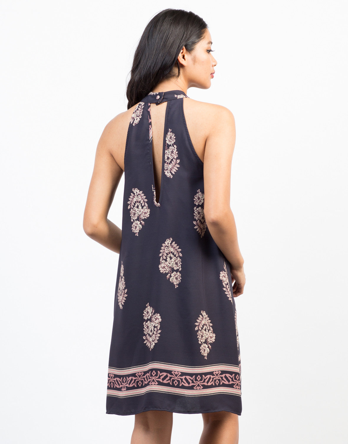 Back View of Autumn Floral Shift Dress