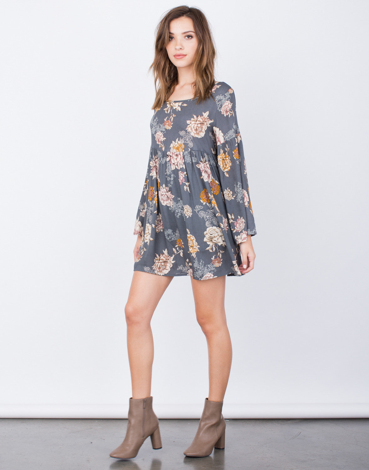 Side View of Autumn Florals Dress