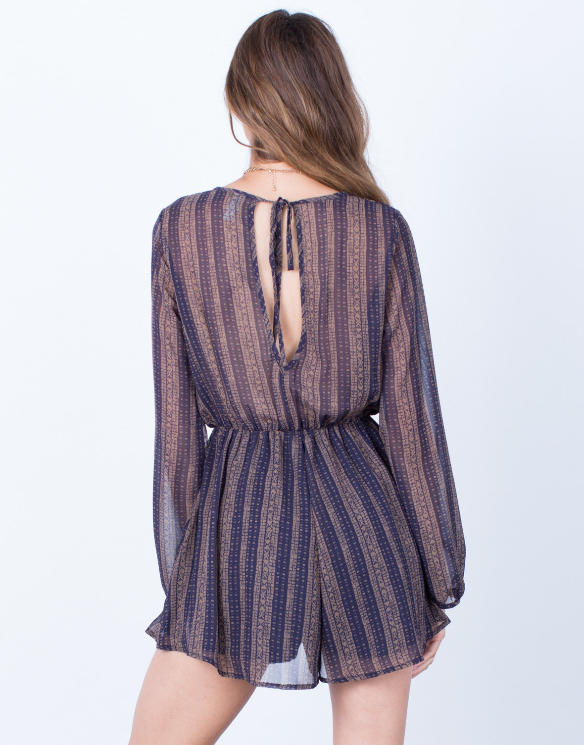 Back View of Aztec Printed Chiffon Romper
