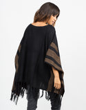 Back View of Aztec Poncho Sweater Top