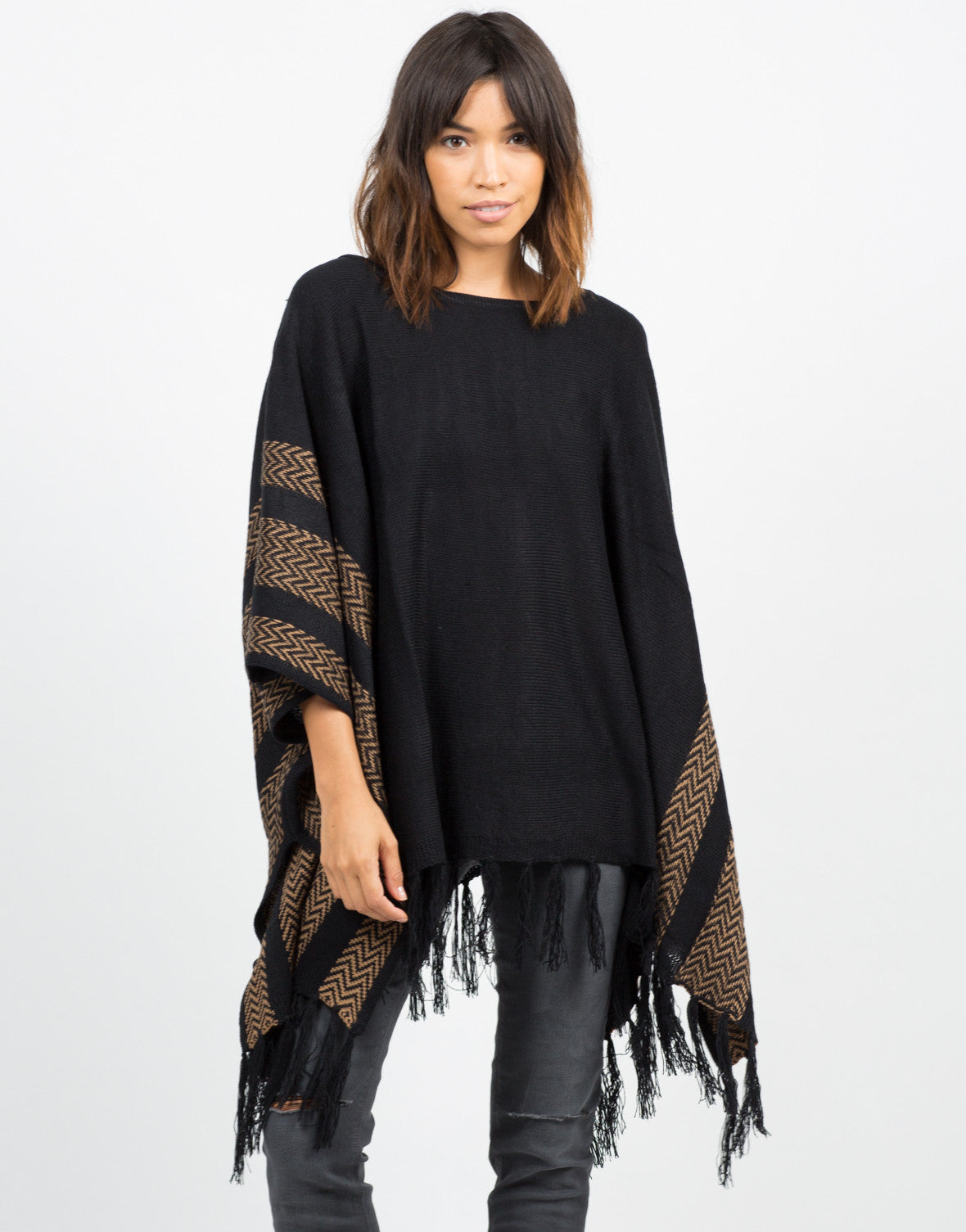 Front View of Aztec Poncho Sweater Top