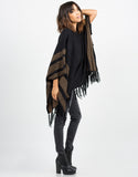 Side View of Aztec Poncho Sweater Top