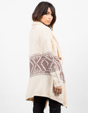 Back View of Aztec Print Knitted Holiday Cardigan