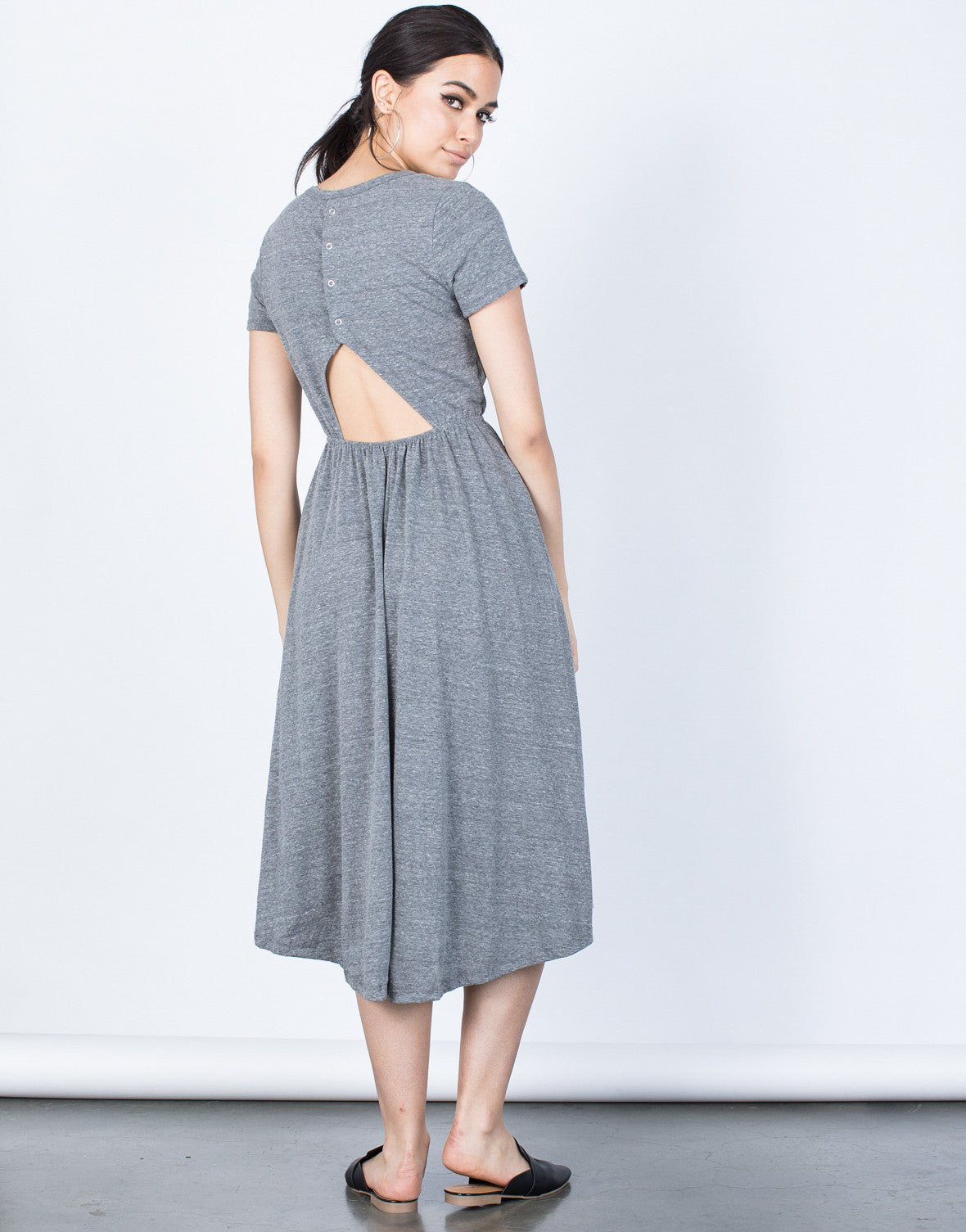 Back View of Back Buttoned Midi Tee Dress