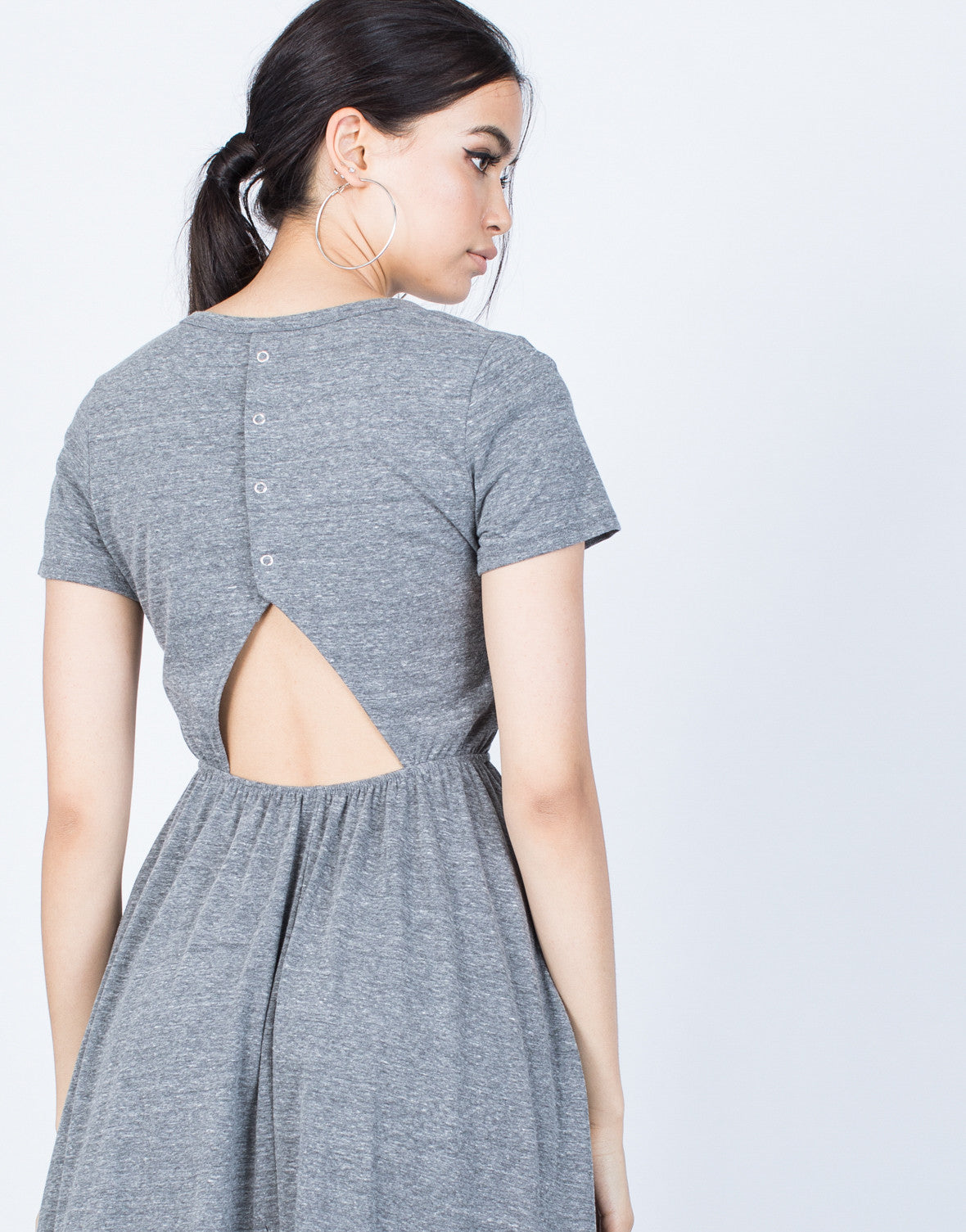 Detail of Back Buttoned Midi Tee Dress