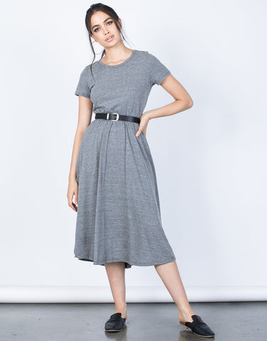 Front View of Back Buttoned Midi Tee Dress