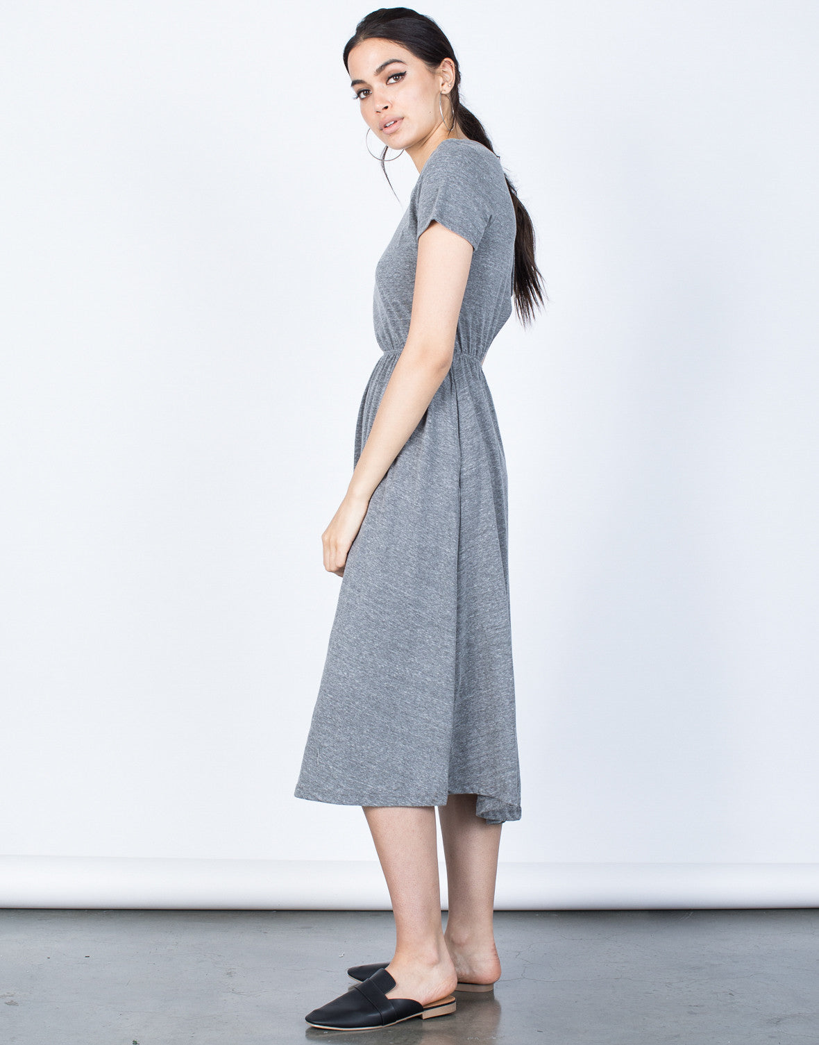 Side View of Back Buttoned Midi Tee Dress