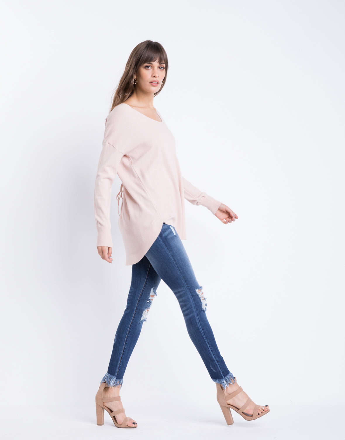 Back Lace Up Sweater