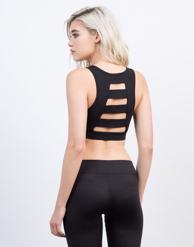 Back View of Back Ladder Sports Bra - Black