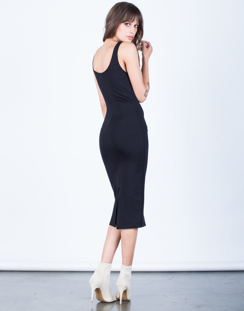 Back View of Back Slit Bodycon Dress