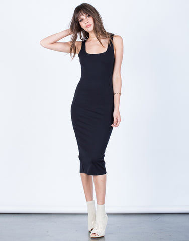 Front View of Back Slit Bodycon Dress