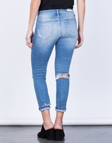 Back View of Back Slit Denim Jeans