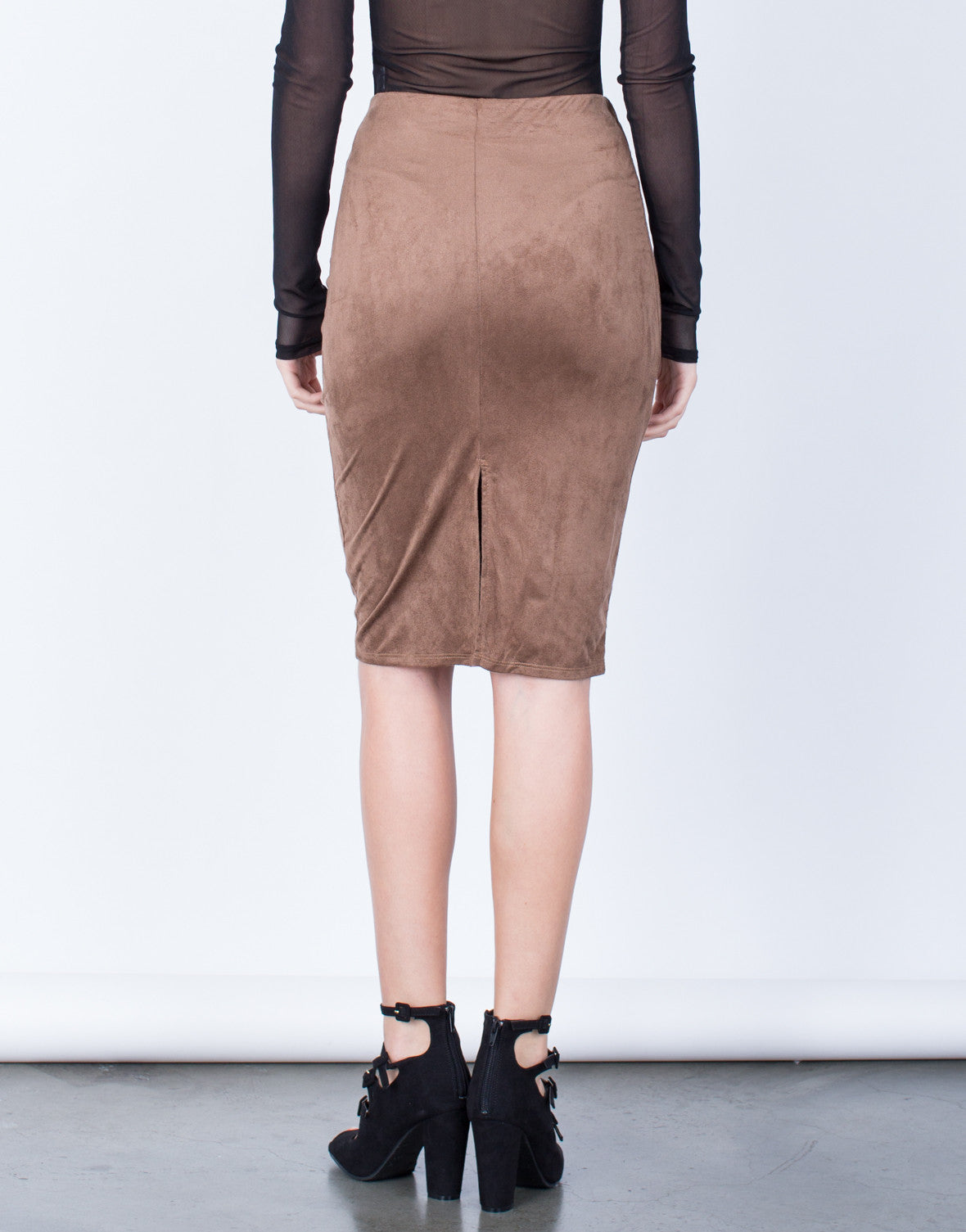Back View of Back Slit Suede Skirt