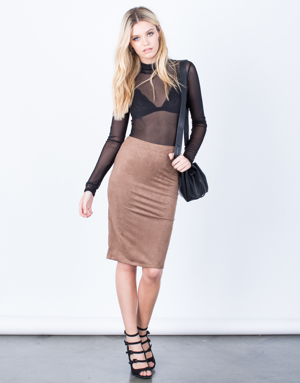 Front View of Back Slit Suede Skirt