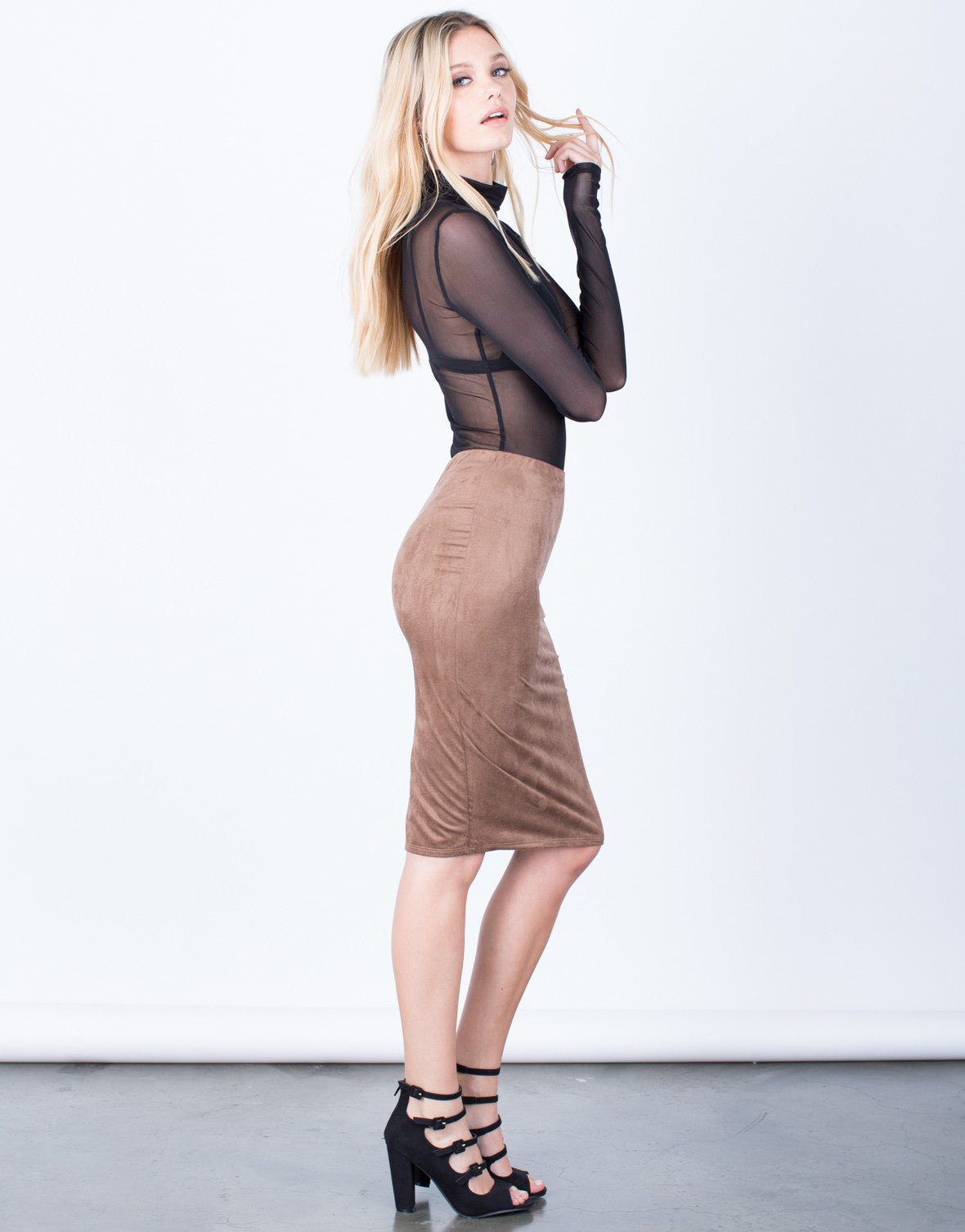 Side View of Back Slit Suede Skirt