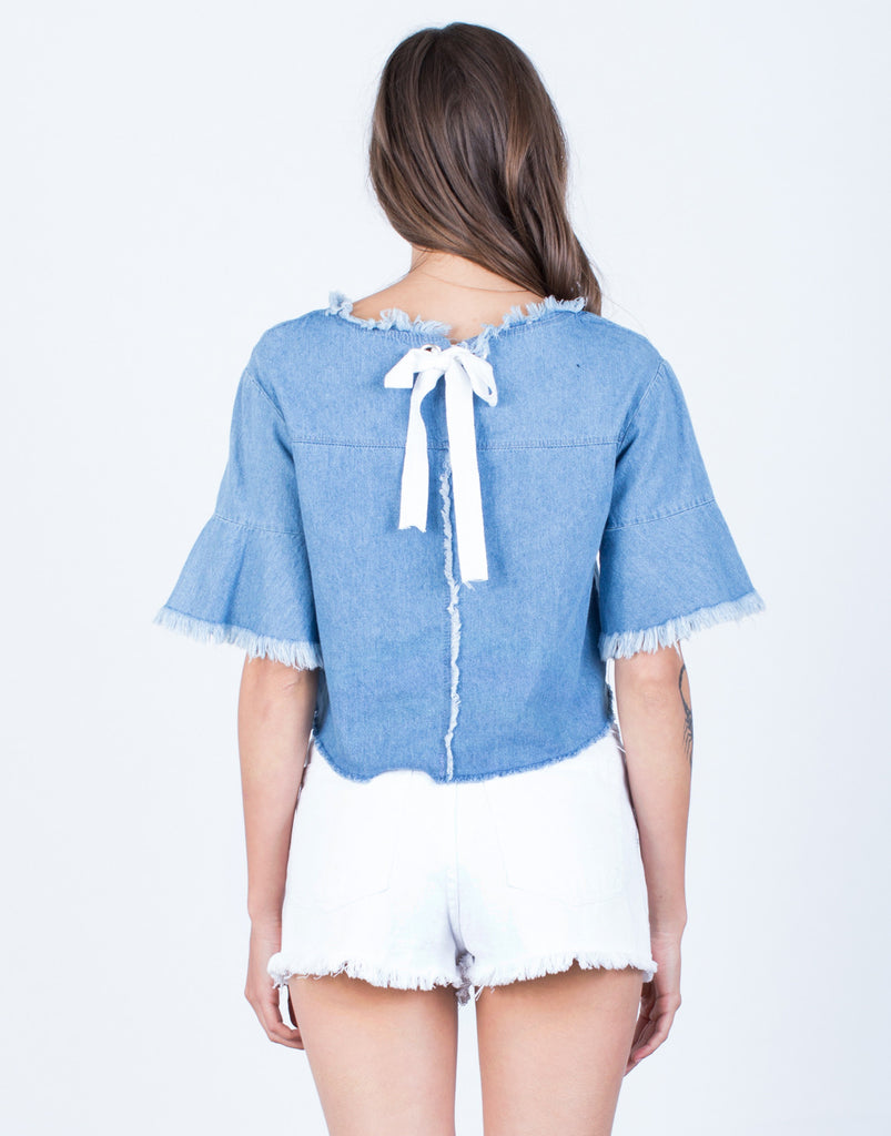 Back View of Back Tie Denim Crop Top