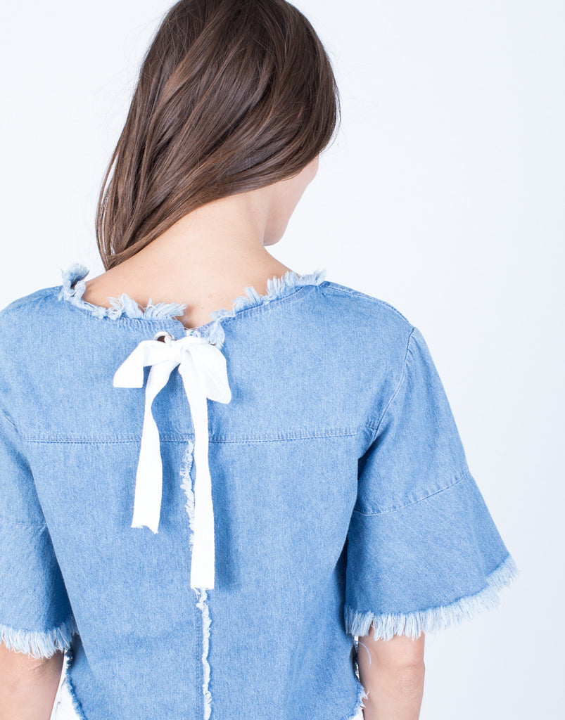 Detail of Back Tie Denim Crop Top