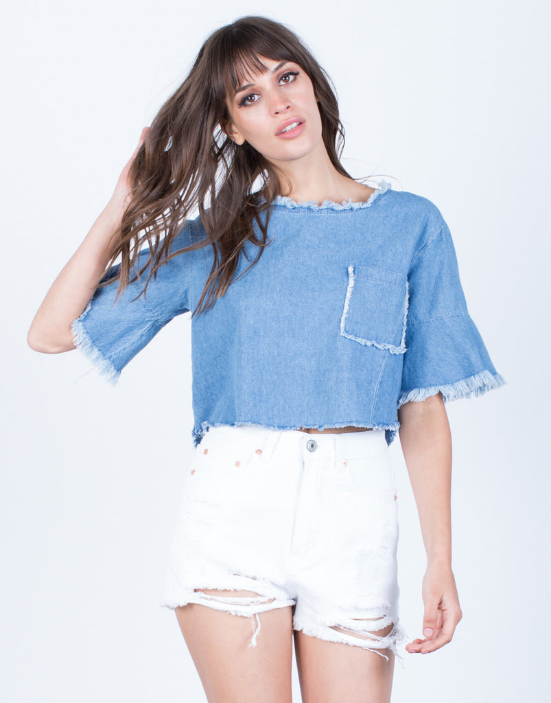 Front View of Back Tie Denim Crop Top